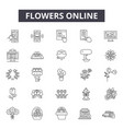 flowers online line icons signs set vector image vector image