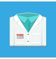 Folded doctors lab white coat with badge vector image