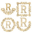 golden r letter ornamental monograms set heraldic vector image vector image