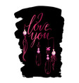 greeting card luxury pink i love you vector image vector image