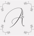 hand drawn flowered a monogram or logo vector image vector image