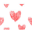 hand drawn hearts seamless pattern red pencil draw vector image vector image