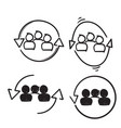hand drawn personnel change sign people in round vector image vector image