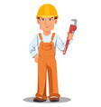 handsome builder in uniform vector image