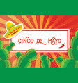 happy cinco de mayo greeting card origami mexican vector image