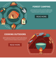 Hiking Equipment And Food Products For Cooking vector image vector image