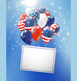 independence day usa banner with balloons on vector image