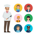 italian chef and set of people of different jobs vector image vector image