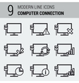 Line Icons Set - Computer Connection vector image vector image