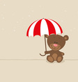 Love bear with red umbrella vector image vector image