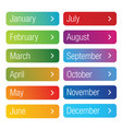 month of the year button set vector image