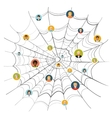 People stuck in complicated spider web vector image vector image
