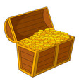 pirate treasure chest with golden coins icon vector image