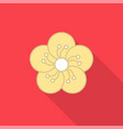 plum blossom flat icon with long shad vector image vector image