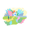 postman send letter mailbox flat service cartoon vector image vector image