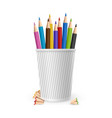 realistic color pencils in glass isolated vector image