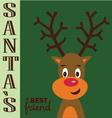 Santas best friend red nose reindeer vector image vector image