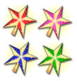 Set of gold sparkling stars painted in different
