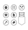 Set of Scaffolding round icons for web site vector image