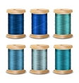 Thread Spool Set Bright Old Wooden Bobb