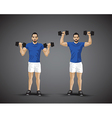 training shoulder press trio vector image vector image