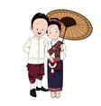 wedding cartoon bride and groom in north-east thai vector image vector image
