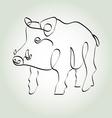 Wild boar pig in minimal line style vector image vector image