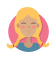 Woman face emotive icon in flat style