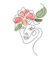 woman face with flower one line drawing vector image vector image