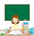 Woman Teachers Checking Homework On Table vector image vector image