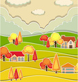 Countryside scene with houses and tree in autumn vector image