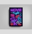 movie night poster design template in neon style vector image