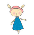 a little cartoon hare wearing a lovely blue dress vector image vector image