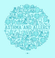Asthma and allergy concept in circle vector image