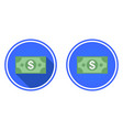 banknote dollar round flat icon vector image