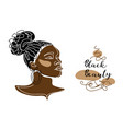 black afro woman girl face portrait vector image