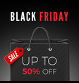 black friday discount offer black bag with red vector image vector image