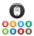 blood glucose level icons set color vector image vector image