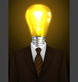 businessman with a lamp head creative idea vector image