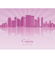 Calgary V2 skyline in purple radiant orchid vector image vector image