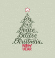 calligraphy lettering in christmas tree form with vector image