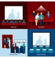 Cinema movie 4 flat icons square vector image vector image