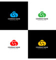 cloud with letter s logo icon flat design vector image