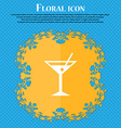 cocktail martini Alcohol drink icon Floral flat vector image