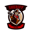 colorful emblem logo cowboy holding a revolver vector image vector image