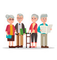 cute elderly couples with books and newspaper vector image vector image