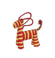 cute woolen horse toy christmas present colored vector image vector image