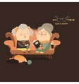 Elderly women sitting on couch vector image vector image