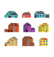 flat cartoon town houses cottage buildings with vector image