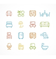 Flat Line Icons Furniture vector image vector image
